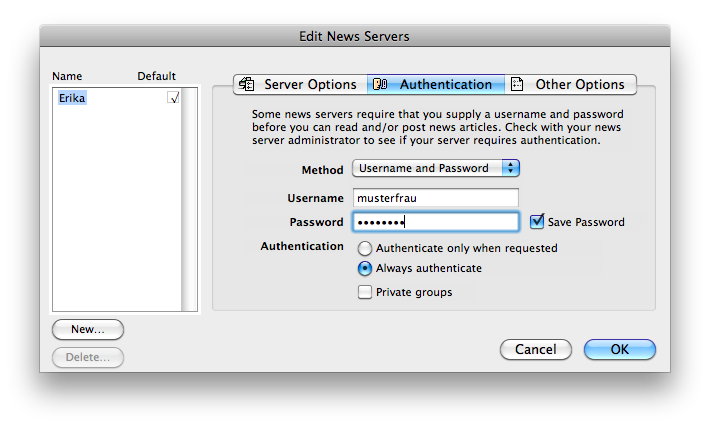 NewsWatcher - Authentication Options